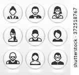 people face set on white round... | Shutterstock .eps vector #372518767