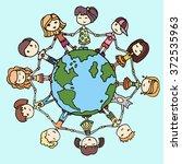 children around the world. kids ... | Shutterstock .eps vector #372535963