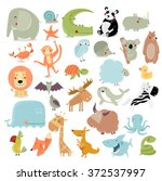 Stock vector big vector set of animals the crocodile elephant bear duck panda koala lion monkey turtle 372537997