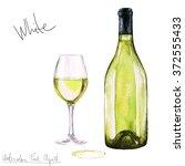 watercolor food clipart   wine | Shutterstock . vector #372555433
