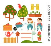 vector icons set of garden.... | Shutterstock .eps vector #372587707