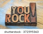 you rock compliment in vintage... | Shutterstock . vector #372595363