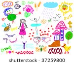 hand drawn set of doodles... | Shutterstock .eps vector #37259800