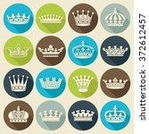 set of crown heraldic... | Shutterstock .eps vector #372612457
