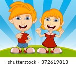 children playing in the park... | Shutterstock . vector #372619813
