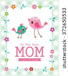 cute bird happy mother's day to ... | Shutterstock .eps vector #372650533