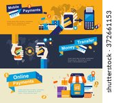 mobile payments banners design... | Shutterstock .eps vector #372661153