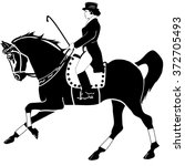 horseback riding and dressage | Shutterstock .eps vector #372705493