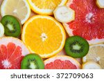 citrus fruit background with a... | Shutterstock . vector #372709063