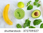 green smoothie made from banana ...   Shutterstock . vector #372709327
