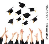 graduates hands throwing... | Shutterstock . vector #372718903