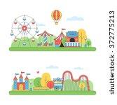 amusement park landscape.... | Shutterstock .eps vector #372775213