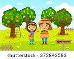 farmers working in a farm ... | Shutterstock .eps vector #372843583
