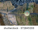 aerial view of air balloon over ... | Shutterstock . vector #372845203