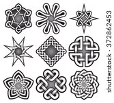 Stock vector set of logo templates in celtic knots style tribal tattoo symbols package nine silver ornaments 372862453