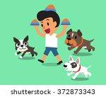Cartoon Man Feeding Dogs