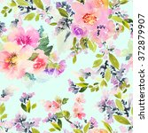 seamless pattern with flowers... | Shutterstock . vector #372879907