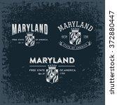 maryland three stylized emblems ... | Shutterstock .eps vector #372880447