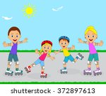 happy family on roller skates... | Shutterstock .eps vector #372897613