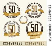 set of anniversary gold vector...   Shutterstock .eps vector #372898483