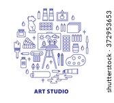 art studio concept with tools...