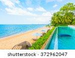 beautiful luxury hotel swimming ... | Shutterstock . vector #372962047