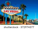 Stock photo famous las vegas sign on bright sunny day 372974377