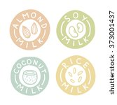 almond  soy  coconut  rice milk ... | Shutterstock .eps vector #373001437