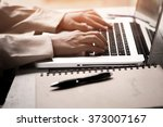 closeup of business woman hand... | Shutterstock . vector #373007167
