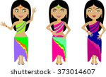 a set of three indian girls in... | Shutterstock .eps vector #373014607