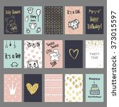 set of hand drawn cute cards... | Shutterstock .eps vector #373015597