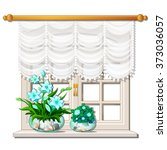 white window with flowers on... | Shutterstock .eps vector #373036057