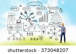 engineer man draw ideas   Shutterstock . vector #373048207