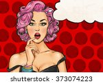Stock photo pop art girl with the speech bubble pop art girl party invitation birthday card hollywood movie 373074223