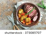 roasted carrots  potato and cut ... | Shutterstock . vector #373085707