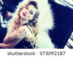 beautiful young woman with... | Shutterstock . vector #373092187