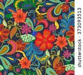 seamless paisley background... | Shutterstock .eps vector #373093513
