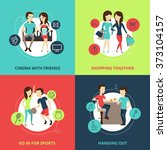 friends concept icons set | Shutterstock . vector #373104157