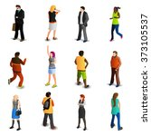 people isometric icons set | Shutterstock . vector #373105537