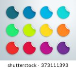 circle paper sticker note set... | Shutterstock .eps vector #373111393