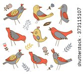 cute collection of funny birds | Shutterstock .eps vector #373115107