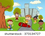children playing in the park... | Shutterstock .eps vector #373134727