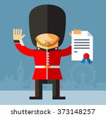 the queen's guard with... | Shutterstock .eps vector #373148257