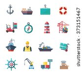 sea port icons set | Shutterstock . vector #373151467