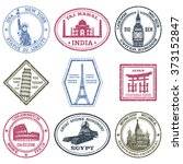 monuments stamps set | Shutterstock . vector #373152847