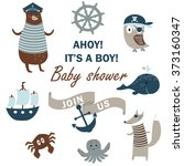 baby shower invitation with... | Shutterstock .eps vector #373160347