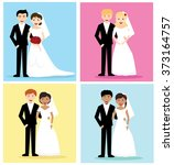 four sets of happy wedding... | Shutterstock .eps vector #373164757