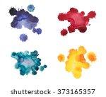 set of watercolor blot  drop ... | Shutterstock . vector #373165357