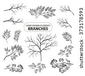 a set of hand drawn branches of ... | Shutterstock .eps vector #373178593