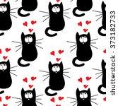 seamless pattern love cat.... | Shutterstock .eps vector #373182733